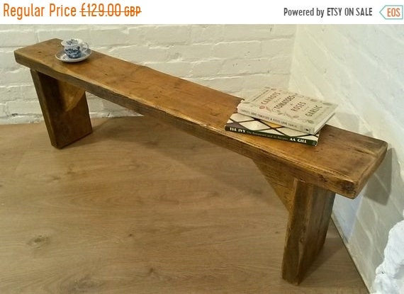 August sale FREE DELIVERY! 4ft Hand Made Reclaimed Old Pine Beam Solid Wood Dining Bench