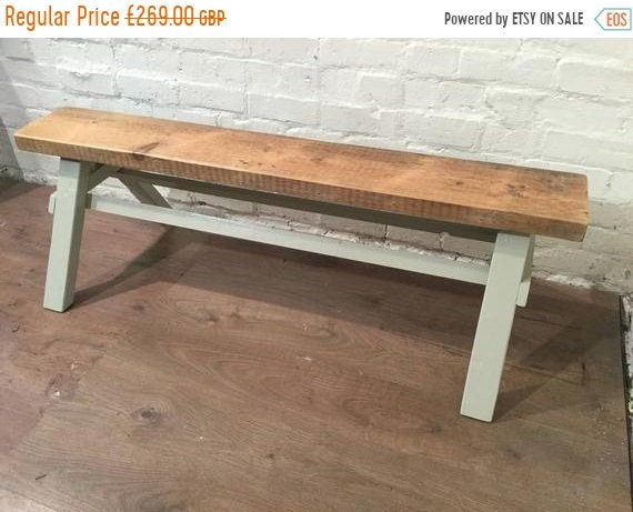 NewYear Sale Free Delivery - Our Architects Bench - HandMade in Solid Pine Painted in F&B Reclaimed Wood Beam - Village Orchard Furniture