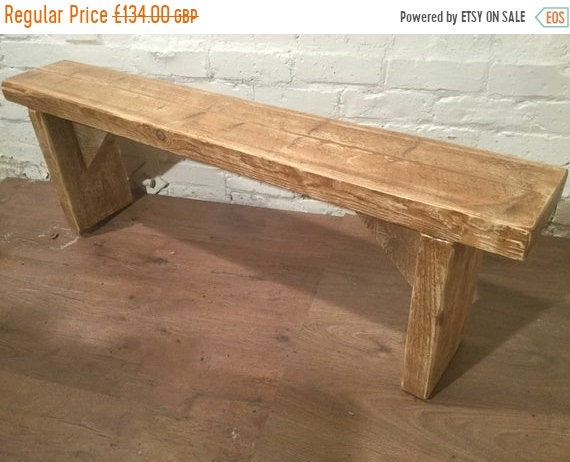 Xmas SALE Hand Made Solid Reclaimed Pine Beam Dining Seating Bench - Free Delivery by Village Orchard Furniture