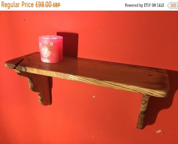 Halloween Sale Hand Made Carved Solid Reclaimed English Oak Kitchen Study Bedroom Shelf