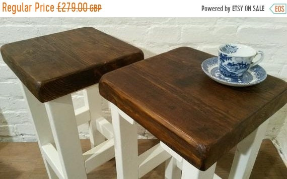 NewYear Sale FREE Delivery! A Pair (x2) Hand Painted F&B White Reclaimed Solid Wood Kitchen Island Bar Stool - Village Orchard Furniture