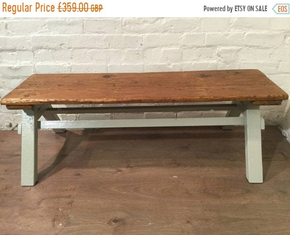 June Sale Free Delivery - -6ft Architects Coffee Table F&B Painted Solid Pine Frame Reclaimed Floorboards - Village Orchard Furniture