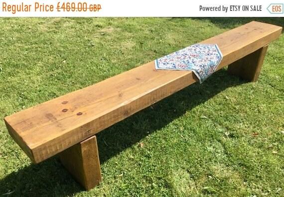 Summer Sale HUGE 7ft - 8ft Clean Railway Sleeper Reclaimed Pine Beam Dining Garden Table Bench