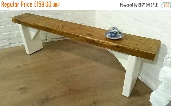 Xmas Sale Free Delivery! F&B Painted 5ft Hand Made Reclaimed Old Pine Beam Solid Wood Dining Bench - Village Orchard Furniture