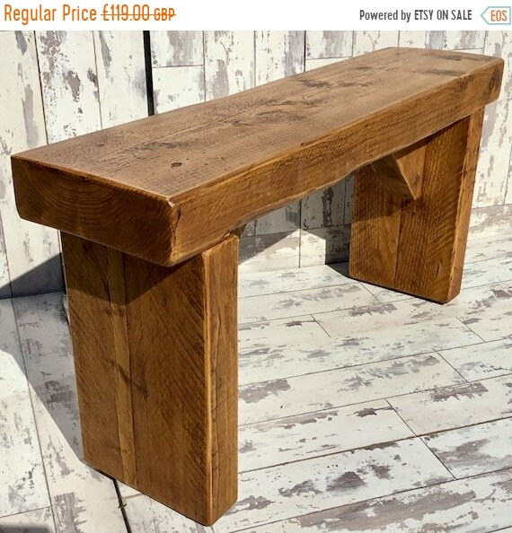 Autumn Sale OLD ENGLISH Chunky 3ft Hand Made Reclaimed Pine Solid Wood Dining Bench