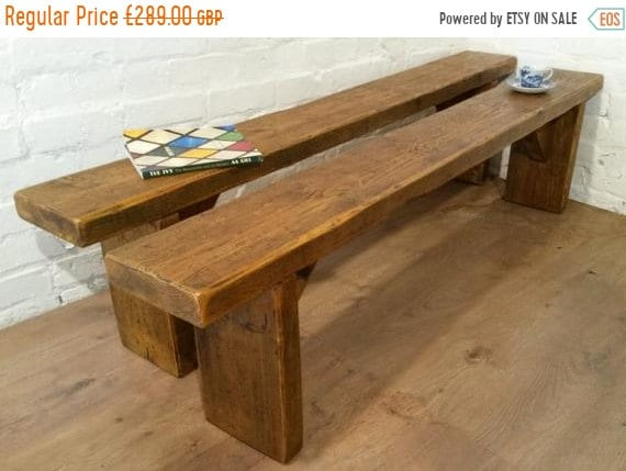 Xmas Sale FREE Delivery! X2 6Ft Pair Solid Reclaimed Pine Dining Table Benches Village Orchard Furniture - Village Orchard Furniture