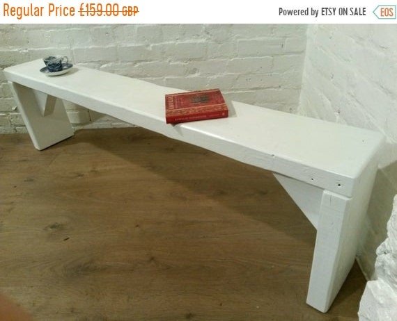 Xmas SALE Free Delivery! Farrow & Ball Painted 5ft Hand Made Reclaimed Old Pine Beam Solid Wood Dining Bench - Village Orchard Furniture