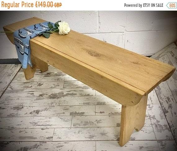 HUGE Sale Craftsman Hand Made Solid Wood Oak School Dining Table Bench