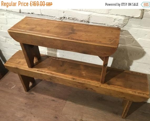 """Bonfire Sale / Old School Antique 4ft 6"""" Rustic Solid Reclaimed Old School Pine Dining Plank Table Chair Bench - Village Orchard Furniture"""