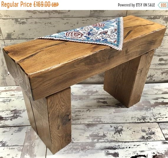 August SALE Hand Made Solid Oak Reclaimed Timber Railway Sleeper Garden Dining Study Bench