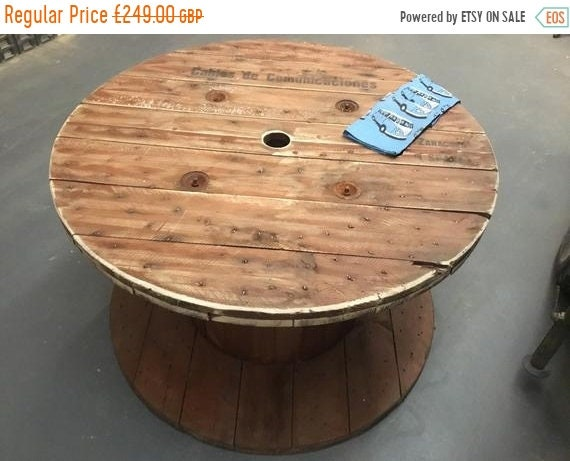 August sale Very-Large Hand Made Reclaimed Pine Plank Spanish Cable Drum Garden Event Round Dining Table