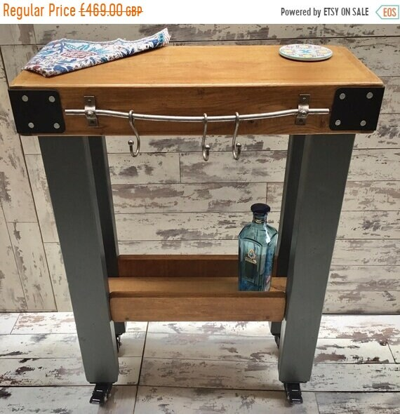 Autumn Sale Painted F&B Solid OAK Butchers Block Hand Made Country Chunky Compact Kitchen Island Trolley