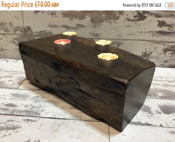 Xmas SALE 1800's Maritime Solid English Oak Ships Beam Reclaimed Candle Shelf - ONLY 1 !