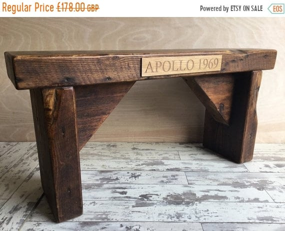 Xmas SALE Personalised Oak Ply Name Plaque on Our Hand Made Reclaimed Church Solid Pine Bench