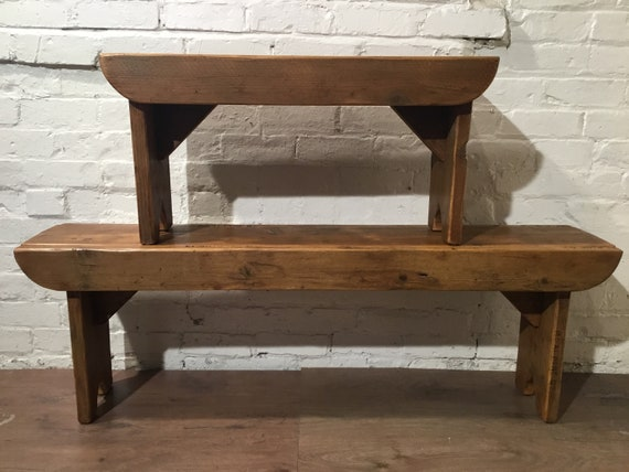 Bonfire Sale / Old School Antique 5ft Rustic Solid Reclaimed Old School Pine Dining Plank Table Chair Bench - Village Orchard Furniture