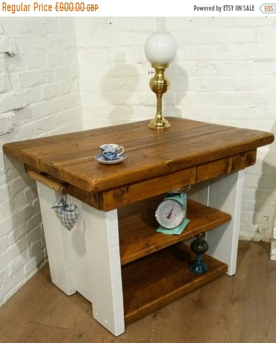 Spring-Sale FREE Delivery! Open Painted British Solid Reclaimed Pine Butchers Block Table Kitchen Island - Village Orchard Furnitu
