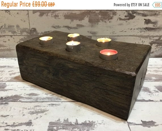 June Sale Beautiful 1800's Maritime Solid English Oak Ships Beam Reclaimed Candle Shelf - ONLY 1 !
