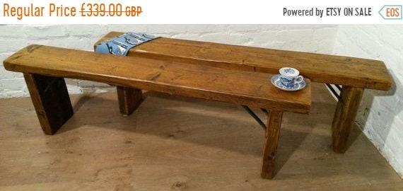 August sale Pair 5ft Industrial Hand Forged Wrought Iron Solid Reclaimed Pine Dining BENCHES - Village Orchard Furn