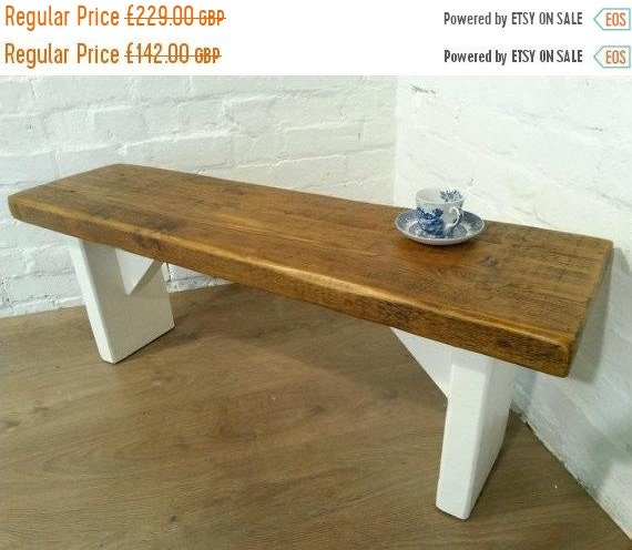 August sale Free Delivery! Extra-Wide F&B Painted 5ft Hand Made Reclaimed Old Pine Beam Solid Wood Dining Bench - Village Orchard Furniture