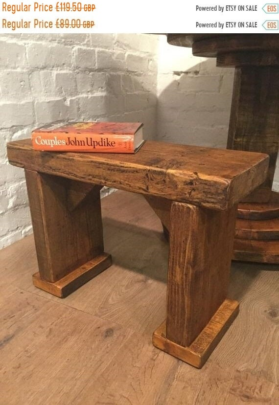 Autumn Sale Free Delivery! 3ft Wide-Foot Solid Rustic Vintage Reclaimed Pine Plank Dining Table BENCH - Village Orchard Furniture