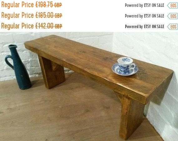 NewYear Sale FREE DELIVERY! X-Wide 5ft Hand Made Reclaimed Old Pine Beam Solid Wood Dining Bench