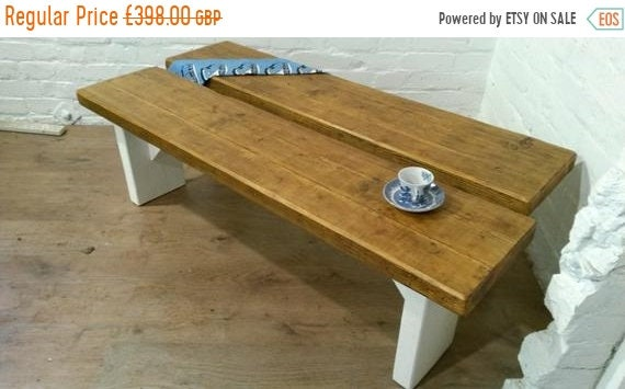 Bonfire Sale / Free Delivery! Pair of X-Wide F&B Painted 5ft Rustic Reclaimed Pine Dining Plank Table Chair Bench - Village Orchard Furnitur