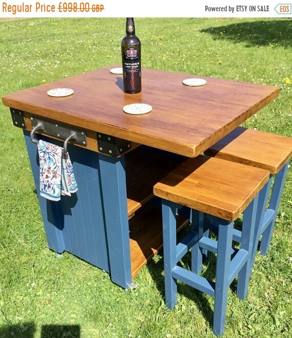 Autumn Sale Stunning Solid OAK Hand Made Country Farrow & Ball Painted Kitchen Table Island and Bar Stools