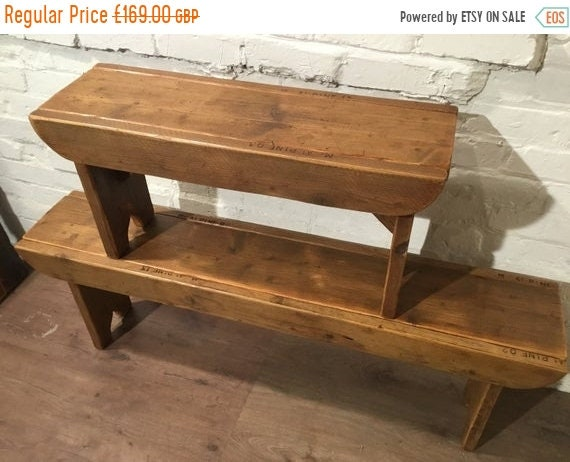 "Xmas SALE Old School Antique 4ft 6"" Rustic Solid Reclaimed Old School Pine Dining Plank Table Chair Bench - Village Orchard Furniture"