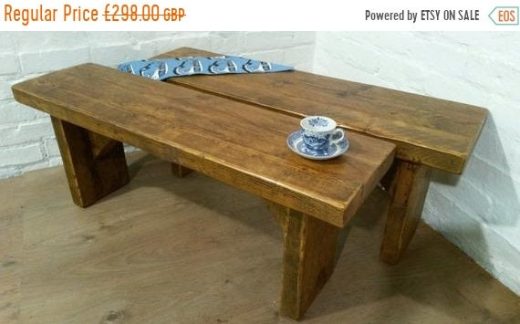 Summer Sale Free Delivery! Pair of X-Wide Vintage 4ft Rustic Reclaimed Pine Dining Plank Table Chair Bench - Village Orchard Furniture