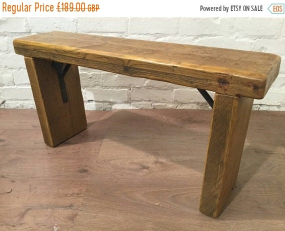 August sale Free Delivery Now - 4ft Industrial Hand Forged Wrought Iron Solid Reclaimed Pine Dining Table BENCH - Village Orchard Furniture