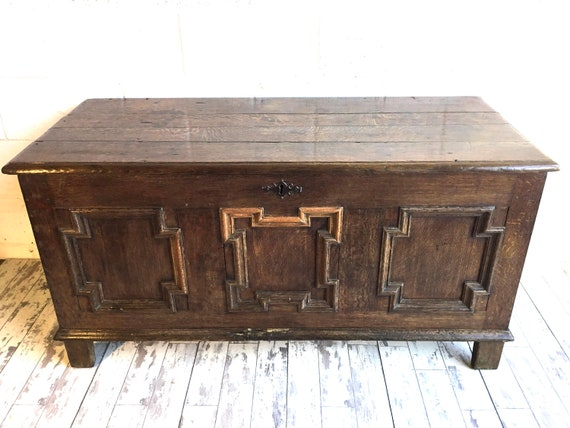 NewYear Sale 1800s English Solid Oak Chest Coffer - Stunning!