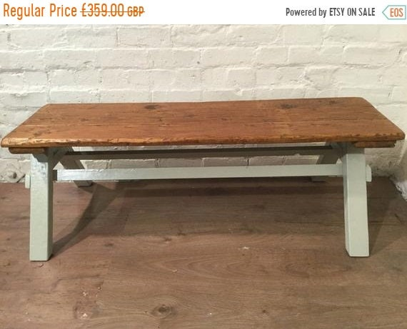 August sale Free Delivery - -6ft Architects Coffee Table F&B Painted Solid Pine Frame Reclaimed Floorboards - Village Orchard Furniture