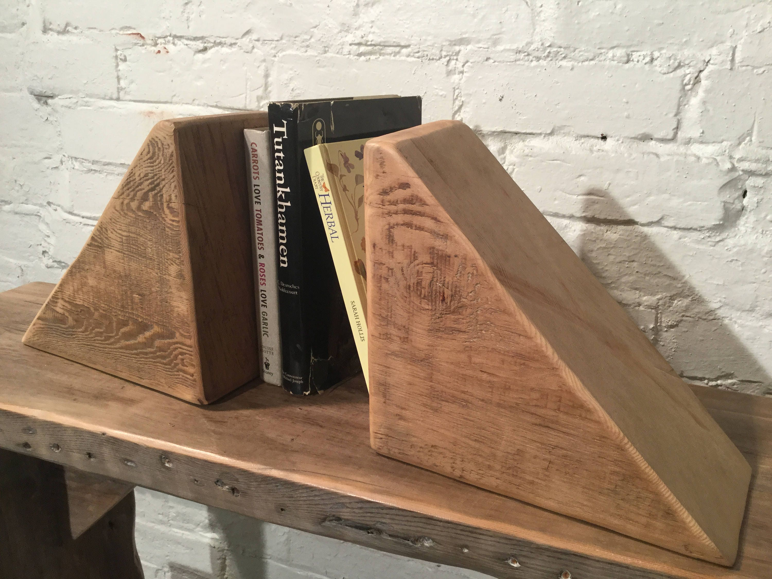 Huge Triangular Antique Old Pair Of Solid Reclaimed Old Pine Beam Bookends    Built To Last By Village Orchard Furniture