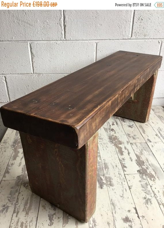 VALENTINE Sale Antique Indian Colonial Solid Wood Vintage Pine Bench Coffee Table - Only This 1 !