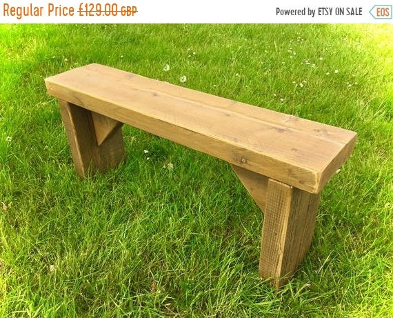 XMAS Sale NEW! Golden Oak 4ft Hand Made Reclaimed Old Pine Beam Solid Wood Dining Bench