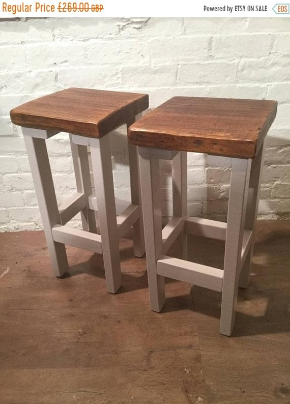 Bonfire Sale / FREE Delivery! A Pair (x2) Hand Painted F&B Rustic Reclaimed Solid Wood Kitchen Island Bar Stool - Village Orchard Furniture