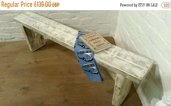 August sale FREE DELIVERY! Chunky Hand Made Solid Wood Pine White Wash Dining Chair Bench  *Bespoke - Built To Last*