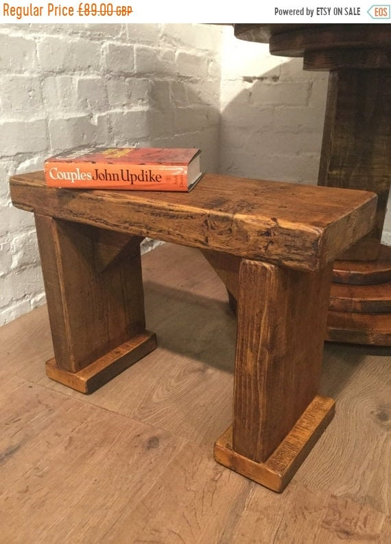 Spring Sale Free Delivery! SINGLE Wide-Foot Solid Rustic Vintage Reclaimed Pine Plank Dining Table BENCH - Village Orchard Furniture