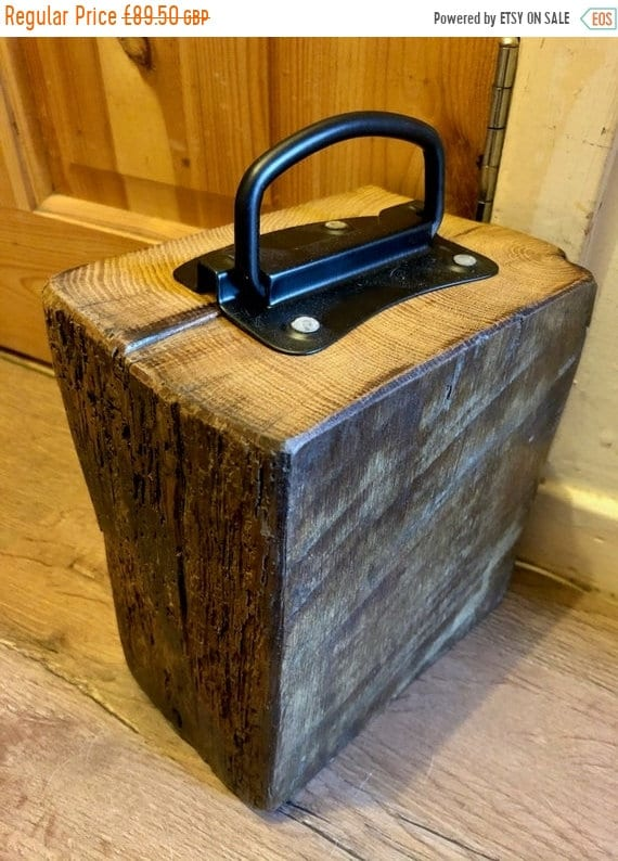 Spring Sale Lge Reclaimed 1800's Maritime Solid English Oak Country Beam Door Stop & Handle
