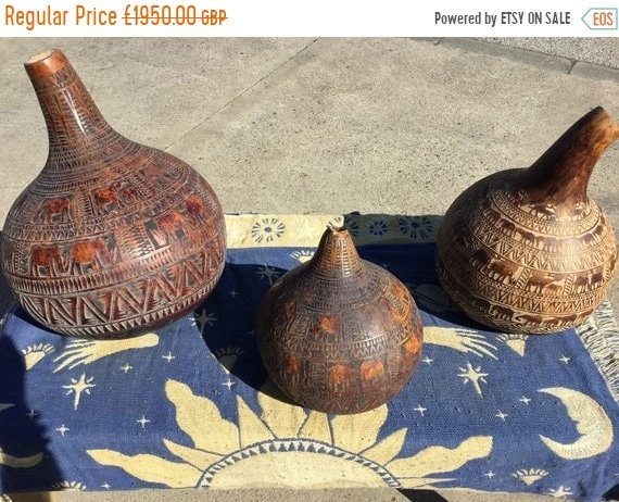 Halloween Sale c. 1800s Very RARE 3x Hand Carved Gourd South American Inca / Aztec Areas - Large