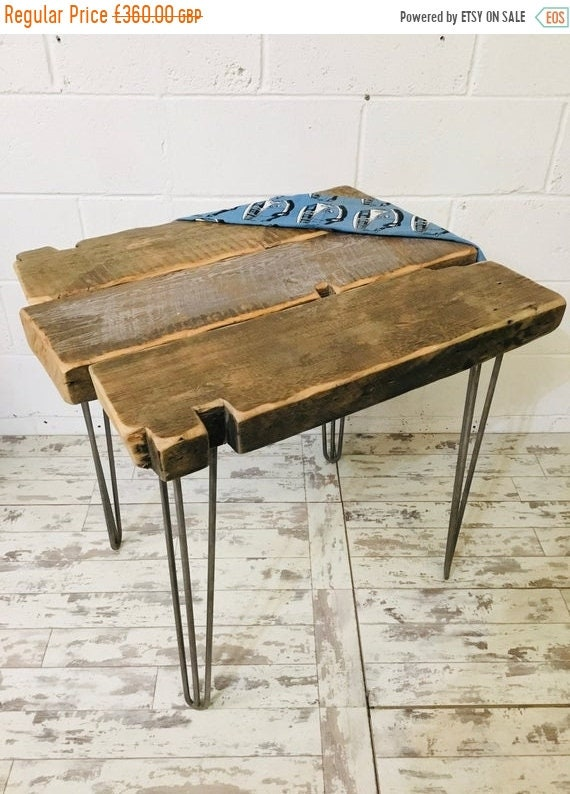 June Sale OOAK Artisan Hand Made 200 Year Old Solid Pine Beam Industrial Hairpin Leg Table