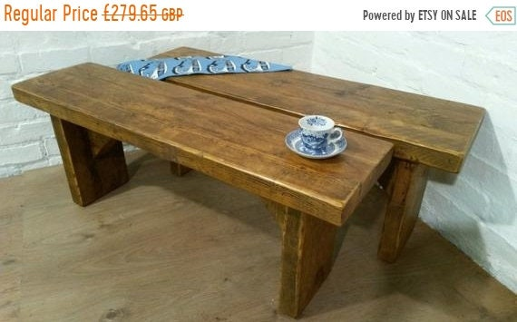 Summer Sale Free Delivery! Pair of X-Wide Vintage 5ft Rustic Reclaimed Pine Dining Plank Table Chair Bench - Village Orchard Furniture