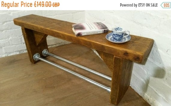 Xmas SALE FREE Delivery! Industrial Scaffold Steel Pipe Rustic Reclaimed Pine Table Shoe Rack Shelf BENCH - Village Orchard Furniture