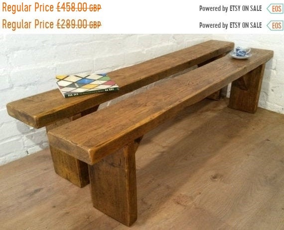 Spring Sale FREE Delivery! X2 8Ft Pair Solid Reclaimed Pine Country Chunky Dining Kitchen Table Benches Village Orchard Furniture