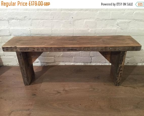 NewYear Sale HandMade Old 1900s Reclaimed Pine Rustic Wooden Vintage Beams Dining Chair Bench - By Village Orchard Furniture in England