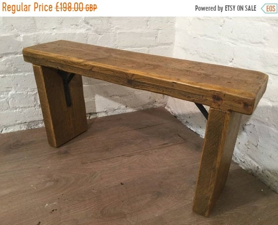 Xmas Sale Free Delivery Now - 5ft Industrial Hand Forged Wrought Iron Solid Reclaimed Pine Dining Table BENCH - Village Orchard Furniture