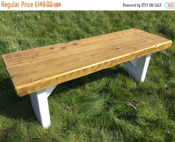 Autumn Sale GARDEN BENCH Hand Made Solid Wood Dining Table Painted Wide Benches  - Village Orchard Furniture
