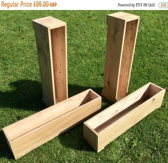 JAN SALE LARGE - New! British Hand Made Rustic Solid Wood Oak Garden Flower Box Trough Planters