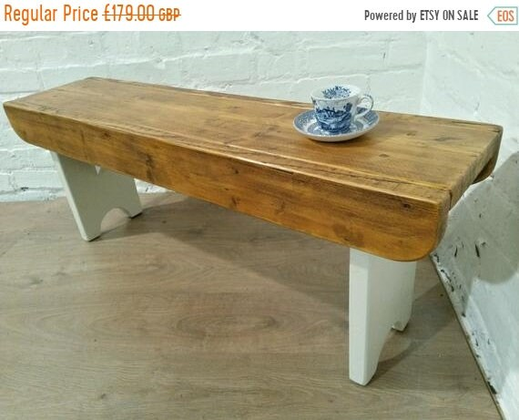 NewYear Sale F&B Painted Antique 4ft Rustic Reclaimed Old Pine Dining Plank Table Chair BENCH - Village Orchard Furniture