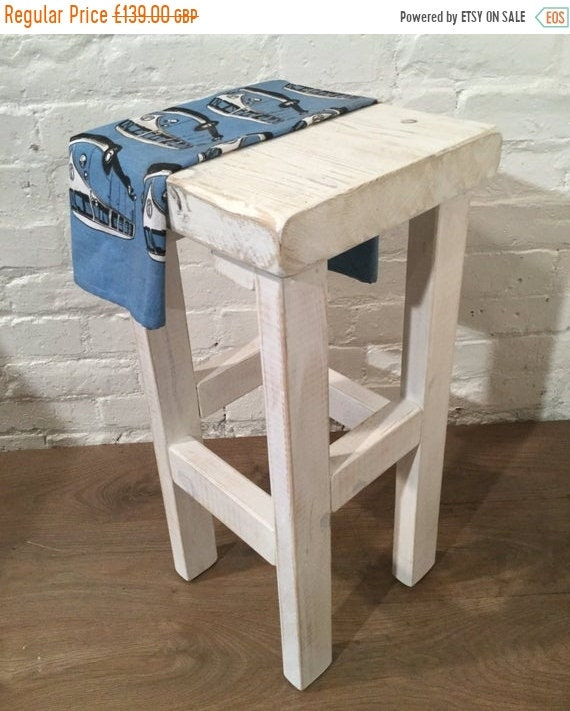 NewYear Sale Hand Painted Whitewash Hand Made Reclaimed Solid Wood Kitchen Island Bar Stool - Hand Made by Village Orchard Furniture